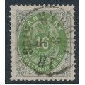 DENMARK - 1871 16Sk emerald-green/grey Numeral, perf. 14:13½, used – Facit # 24a