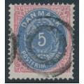 DENMARK - 1879 5øre ultramarine/rose Numeral, perf. 14:13½, used – Facit # 30b