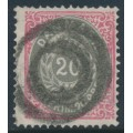 DENMARK - 1875 20øre grey/rose Numeral, perf. 14:13½, used – Facit # 34d