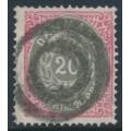 DENMARK - 1875 20øre grey/rose Numeral, perf. 14:13½, used – Facit # 34d