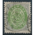 DENMARK - 1875 25øre grass-green/grey Numeral, perf. 14:13½, used – Facit # 35d