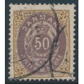 DENMARK - 1875 50øre lilac-brown/chestnut Numeral, perf. 14:13½, used – Facit # 36d