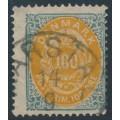DENMARK - 1877 100øre orange-yellow/greenish grey Numeral, perf. 14:13½, used – Facit # 37b