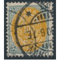 DENMARK - 1895 100øre yellow/grey Numeral, inverted frame, p.12¾, used – Facit # 45aa