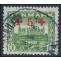DENMARK - 1921 10øre + 5øre green Red Cross overprint, used – Facit # 199