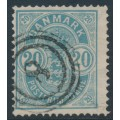 DENMARK - 1882 20øre blue Arms, small numerals, inverted watermark, used – Facit # 52avm