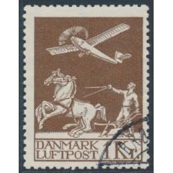 DENMARK - 1929 1Kr brown Airmail, used – Facit # 217