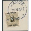 DENMARK - 1918 27øre on 1øre olive Newspaper Stamp (Avisporto), crown watermark, used – Facit # 177