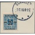 DENMARK - 1918 27øre on 5øre blue Newspaper Stamp (Avisporto), crown watermark, used – Facit # 178