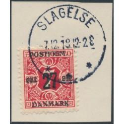 DENMARK - 1918 27øre on 7øre red Newspaper Stamp (Avisporto), crown watermark, used – Facit # 179