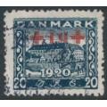 DENMARK - 1921 20øre + 10øre deep blue Red Cross overprint, used – Facit # 200