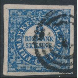 DENMARK - 1852 2 Rigsbank Skilling blue, Thiele print, used – Facit # 1II