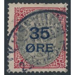 DENMARK - 1912 35øre on 20øre carmine/grey Numeral, inverted frame, used – Facit # 48v2