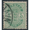 DENMARK - 1882 5øre green Coat of Arms, small numerals, used – Facit # 50b