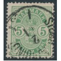 DENMARK - 1882 5øre pale green Coat of Arms, small numerals, used – Facit # 50c