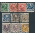 DENMARK - 1904 5øre to 100øre King Christian IX set with all shades, used – Facit # 63-68