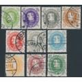 DENMARK - 1930 5øre to 40øre King Christian X set of 10, used – Facit # 246-255
