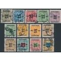 DENMARK - 1918 27øre overprints on Newspaper Stamps (Avisporto) set of 13, used – Facit # 181-193