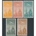 DENMARK - 1934 10øre to 1Kr Airmail set of 5, MNH – Facit # 262-266