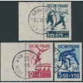 FINLAND - 1938 International Ski Championships set of 3, used – Facit # 212-214