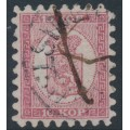FINLAND - 1864 10Kop carmine-rose Coat of Arms, roulette I, medium-spaced stamps, used – Facit # 4C1LK