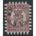 FINLAND - 1870 5Pen lilac-brown Coat of Arms, roulette III, pale lilac ribbed paper, used – Facit # 5v1C3c