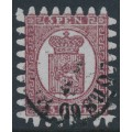 FINLAND - 1870 5Pen lilac-brown Coat of Arms, roulette II, lilac-blue ribbed paper, used – Facit # 5v2C2