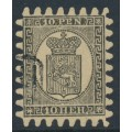 FINLAND - 1866 10Pen black Coat of Arms, roulette II, fawn ribbed paper, used – Facit # 7v1C2