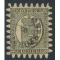 FINLAND - 1870 10Pen black Coat of Arms, roulette III, straw-yellow paper, used – Facit # 7v3C3