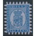 FINLAND - 1867 20Pen blue Coat of Arms, roulette III, thin lilac-blue paper, used – Facit # 8v1C3x