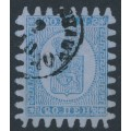 FINLAND - 1867 20Pen blue Coat of Arms, roulette III, grey-blue paper, used – Facit # 8v2C3a