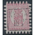 FINLAND - 1867 40Pen carmine-rose Coat of Arms, roulette III, pale red paper, used – Facit # 9v1C3