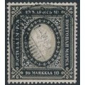 FINLAND - 1901 10Mk black/light grey Russian Coat of Arms, 2nd provisional issue, used – Facit # 54