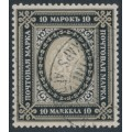 FINLAND - 1903 10Mk black/brownish grey Russian Coat of Arms, Berlin plates, perf. 13½:13½, used – Facit # 60b