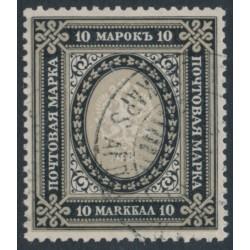 FINLAND - 1903 10Mk black/brownish grey Russian Coat of Arms, Berlin plates, perf. 13½:13½, used – Facit # 60b