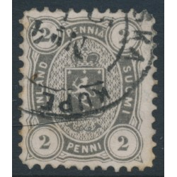 FINLAND - 1875 2Pen black-grey Coat of Arms, perf. 11:11, used – Facit # 12Se