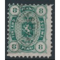 FINLAND - 1875 8Pen dark green Coat of Arms, perf. 11:11, used – Facit # 14Sc