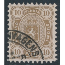 FINLAND - 1881 10Pen yellowish olive-brown Coat of Arms, perf. 11:11, used – Facit # 15SC¹c