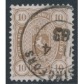 FINLAND - 1882 10Pen light olive-brown Coat of Arms, perf. 12½:12½, used – Facit # 15SC²b