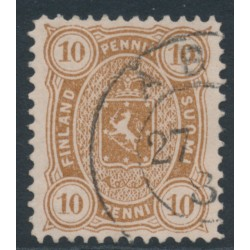 FINLAND - 1883 10Pen yellow-brown Coat of Arms, perf. 12½:12½, used – Facit # 15Lb