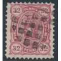 FINLAND - 1875 32Pen light reddish carmine Coat of Arms, perf. 11:11, used – Facit # 18Se