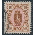 FINLAND - 1889 10Mk brown/pink Coat of Arms, used – Facit # 34