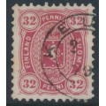 FINLAND - 1875 32Pen carmine-red Coat of Arms, perf. 11:11, used – Facit # 18Sd