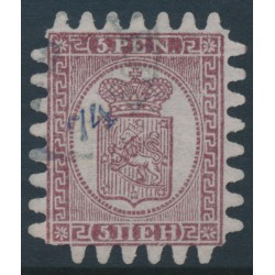 FINLAND - 1871 5Pen purple-brown Coat of Arms, roulette III, pale lilac paper, used – Facit # 5v3C3