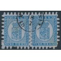 FINLAND - 1867 20Pen blue Coat of Arms pair on grey-blue paper, used – Facit # 8v2C3