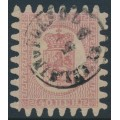 FINLAND - 1867 40Pen carmine Coat of Arms, roulette III, pale red paper, used – Facit # 9v1C3