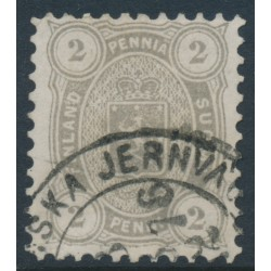 FINLAND - 1875 2Pen brownish grey Coat of Arms, perf. 11:11, used – Facit # 12Sb