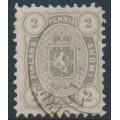 FINLAND - 1875 2Pen light grey Coat of Arms, perf. 11:11, used – Facit # 12Sc