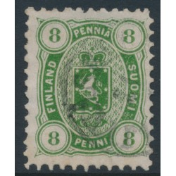 FINLAND - 1875 8Pen yellow-green Coat of Arms, perf. 11:11, used – Facit # 14Sb