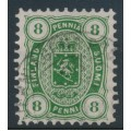 FINLAND - 1875 8Pen deep yellow-green Coat of Arms, perf. 11:11, used – Facit # 14Sbb